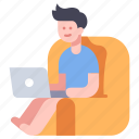 business, computer, freelancer, home, lifestyle, office, people icon