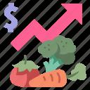 diet, economic, food, healthy, money, price, rising icon