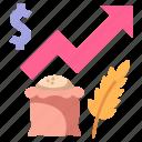 crisis, food, grain, money, price, rising, wheat icon