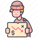 beggar, crisis, homeless, person, problem, unemployed, unemployment icon