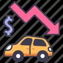 business, car, down, economy, finance, recession, sales icon