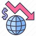 chart, down, economy, finance, global, recession, world icon