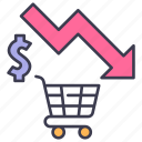 business, down, economy, market, rate, recession, shopping icon