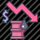 barrel, chart, drop, finance, fuel, oil, price icon