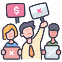 business, covid, crisis, crowd, economy, government, protest icon
