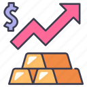 business, finance, gold, investment, money, price, rise icon