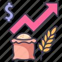 crisis, economy, food, grain, price, rising, wheat icon