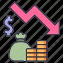 business, crisis, down, economy, financial, market, recession icon