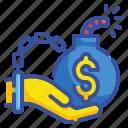 bankrupt, business, compensation, debt, insurance, liability, money icon