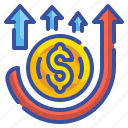 business, crisis, economic, financial, inflation, money, rising icon