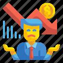 businessman, employee, financial, men, poor, sad, worker icon