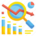 analytics, glass, graph, magnifying, marketing, search, statistics icon