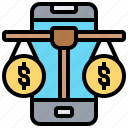balance, online, payment, phone, shopping icon