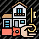 buyers, house, key, market, properties icon