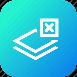 cross, delete, layer, layers, remove, stack icon