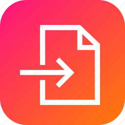 arrow, enter, file, import, in, inside icon