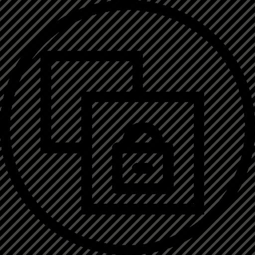 copy, document, lock, paper, private, safe, window icon