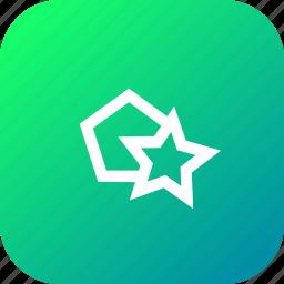 create, hexagon, make, pentagon, polygon, polygons, star icon