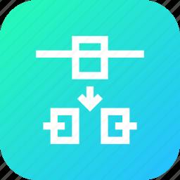 break, down, node, nodes, path, point, select icon
