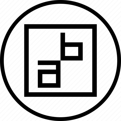 abcd, glyphs, object, text, type, wrap icon