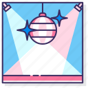 club, dance, disco ball, floor icon