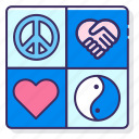 harmony, love, peace, plur icon
