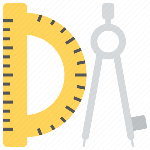 architectural tools, degree square, drafting tools, geometry compass, stationery icon