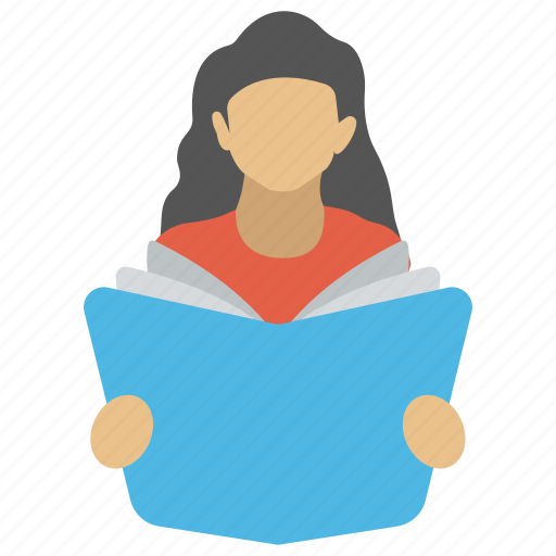 pupil, reader, scholar, school girl, student icon