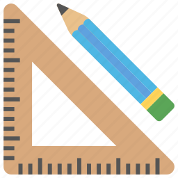 architectural tools, drafting tools, pencil, set square, stationery icon