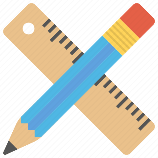 drafting tools, office supplies, pencil and ruler, school supplies, stationery icon