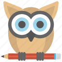 creative owl, education, knowledge, owl with pencil, wisdom icon