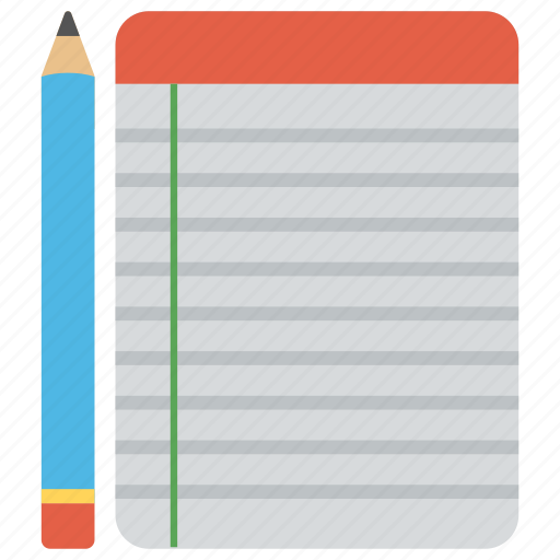 document with pencil, notepad, notes, record, writing material icon