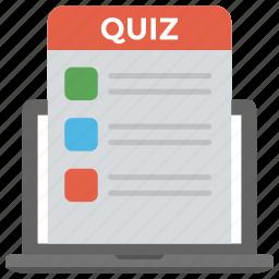 general knowledge, online questionnaire, online quiz, online test, survey form icon