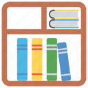 books almirah, books rack, bookshelf, files almirah, furniture icon