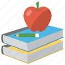 apple education, apple on book, back to school, education, learning icon