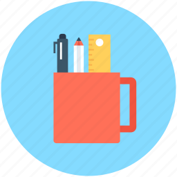 pen cup, pencil case, pencil holder, pencil pot, stationery holder icon