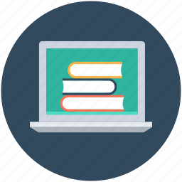 e learning, education, laptop, online book, online study icon