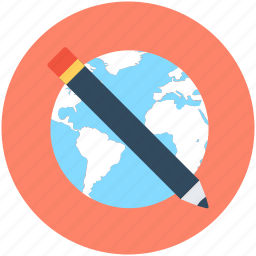 earth, geography, globe, pencil, planet icon
