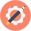 cog, cogwheel, design element, designing, pencil icon