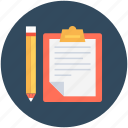 clipboard, list, memo, notation, pencil icon