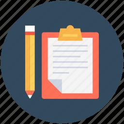 clipboard, list, memo, notation, pencil icon