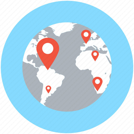 globe, localization, map location, map pin, world location icon