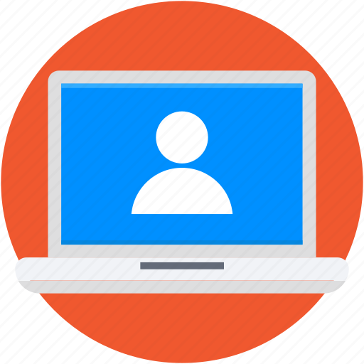 laptop, video call, video chat, video conference, video lecture icon