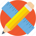 geometry tools, measuring tools, pencil, ruler, scale icon