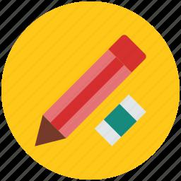 eraser, lead pencil, pencil, school rubber, stationery icon