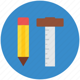 decimal ruler, drafting tools, geometrical, geometry tools, ruler scale, scale and pencil icon