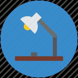 desk lamp, lamp, light fixture, luminaire, table lamp icon