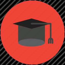academic mortar board, awarded cap, commencement, degree cap, graduate cap, mortarboard, tassel cap icon