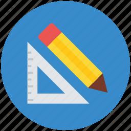 drafting, geometry, geometry tool, graphometer, pencil, semicircular, set square icon