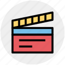 action, clapboard, film action, movie, movie action, video icon